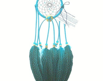 Turquoise Dream Catcher, Guinea Hen Feathers