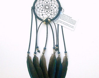 Navy Blue Dream Catcher, English Magpie Feathers