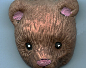 Polymer Clay Brown  Bear or Animal Totem  Undrilled Cab BBR 3