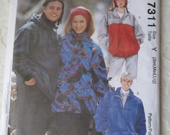 McCalls 7311 Tops, Jackets, Headband Fleece Stretch Knits Only Sewing Pattern Women & Men Unisex Size Small-Med-Lrg