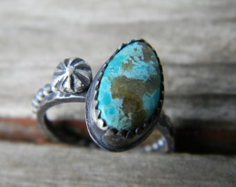 rustic turquoise stacking ring set - completely handmade, oxidized rustic silver
