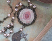Sacred Heart, St Michael, religious medal, marcasite cross, rosary necklace, vintage faux pearls, repurposed vintage, Catholic, ooak