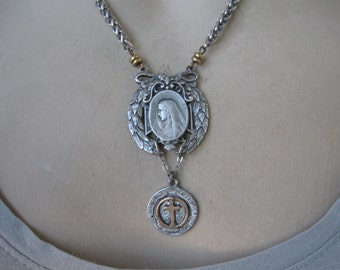 Antique religious medal, Madonna, cross, rosary necklace, Holy Virgin, religious necklace, ooak handmade, ohmygypsysoul