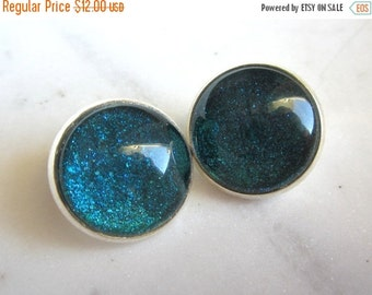 25% SALE Teal Blue Sparkle Clip On Earrings. Bezel Setting Clip Ons. Under 25. Gifts for Her.