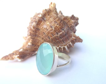 Aqua Chalcedony Ring.  Size 7.  Sterling Silver Chalcedony Ring.  Aqua Blue Oval Chalcedony Ring.