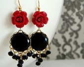 SALE Red Rose Vintage Jet Black Crystal Drop Earrings