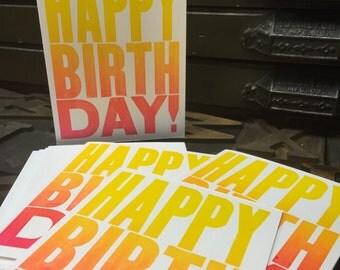 Split-fountain Birthday Letterpress Cards - Set of 4