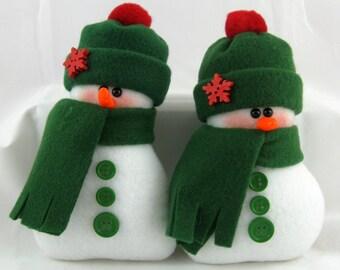 Snowman Ornaments - Set of 2! Flurrie Frizzle Decorative Handmade Stuffed Snowman Ornaments in Dark Green Fleece