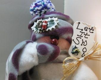 SNOWMAN DECORATION, Stuffed Snowman, Plush Felt Snowman, Snowment Ornament, Christmas Decoration, Christmas Ornament, Red and Black Fleece