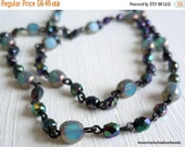 25% OFF Summer Sale Czech Glass Beaded Chain - Gunmetal Tanzanite and Sapphire - Fire Polished - 12 Inches Sections