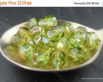 25% OFF Sale Czech Glass Beads Faceted 6mm Beads Chrysolite Celsian 25 (G - 529)