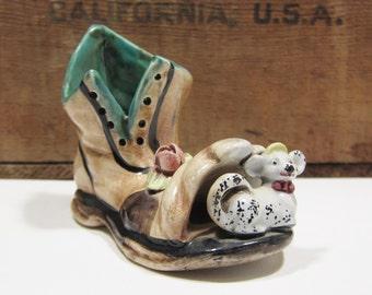Capodimonte Vintage Ceramic Shoe Planter Miniature Porcelain Glazed Figurine Signed