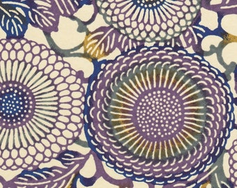 Chiyogami or yuzen paper - Japanese chrysanthemums, purple and navy blue with moss green and ochre accents, 9x12 inches