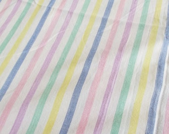 Vintage Bed Sheet - Candy Stripes 1970s M & S