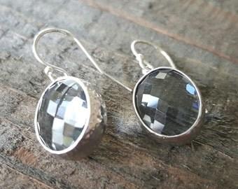 Smokey Glass Sterling Silver Earrings