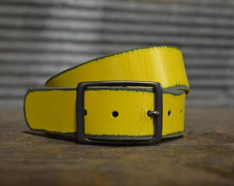 Distressed Yellow Leather Belt by Fosterweld