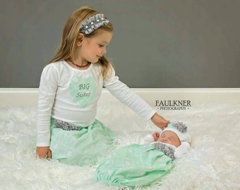 Shabby chic--Mint green and silver...Matching embroidered SISTER Outfits..Girls baby gown and big sister shirt - Coming home outfit