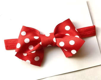 Boutique RED polka dot BOW style HEADBAND...