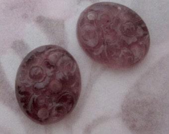 6 pcs. pressed glass amethyst purple pierced flower floral flat back cabochons 12x10mm MIJ - f5192