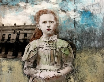 Young girl red hair historical setting  painting