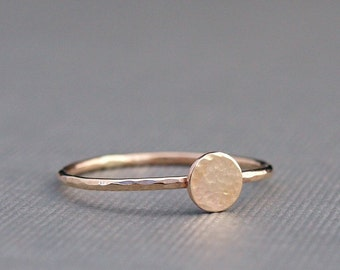 Tiny Gold Ring , Hammered Gold Circle Ring , Simple Gold Ring