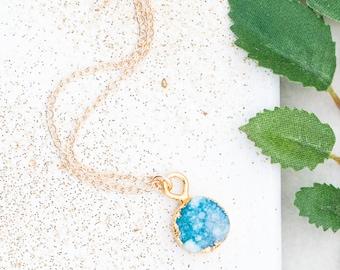 Little Blue Druzy Quartz  Necklace, Blue Necklace, Gemstone Necklace