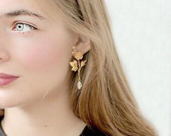 Long Golden Flower and Smoky Quartz Stud Earrings