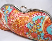 Eyeglass Case Purse Fabric Tangerine Paisley on Aqua