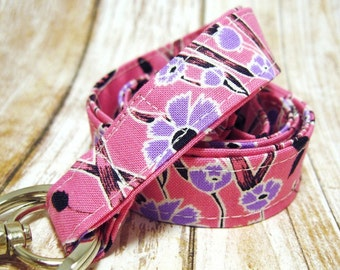 Lanyard, Badge Holder, ID Holder, Breakaway Lanyard, Fabric Lanyard, Employee Lanyard, Teacher Lanyard, Pink Wildflowers