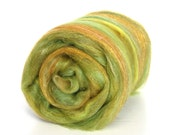 Fields of Gold Carded Batt Merino Silk & Sparkle for Spinning or Felting 100g