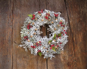 dried DUSTY MILLER WREATH  with berries and cones   natural  decoration  for door or wall