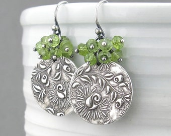 Gemstone Cluster Earrings Peridot Earrings Green Dangle Earrings Silver Earrings Birthday Gift for Her Handmade Silver Jewelry - Lily