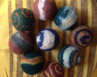 9 wool felt balls, warm colors