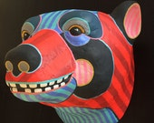 Smiling Bear 3 - Red/Neon Pink - orignal found object painting / wall sculpture