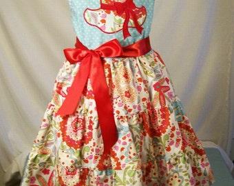 Girls Jumper Dress, Blue Dot Top, Tiered Dress, Handmade, Embroidered, Appliqued, Little Girls Dress, Girls Clothing, Made in the USA, #360