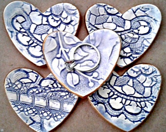 FIVE Ceramic Heart ring bowls Pale Blue edged in gold itty bittys