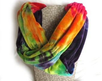 SALE Rainbow Scarf, Circle Scarf, Bamboo Velour Hand Dyed Rainbow