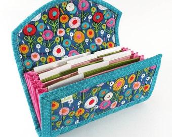 COUPON / EXPENSE / RECEIPT Organizer -Blue Clorful Floral - Coupon Organizer Coupon Holder Cash Budget Jamberry Receipt Organizer