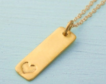 skinny MINI HEART pendant, eco-friendly silver or 14 kt gold vermeil.  Handcrafted by Chocolate and Steel