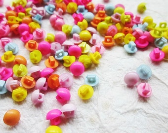 Sale 100 pcs Tiny button - mushroom shape  5 mm. assorted colors for making Blythe and dolls clothes SET 10