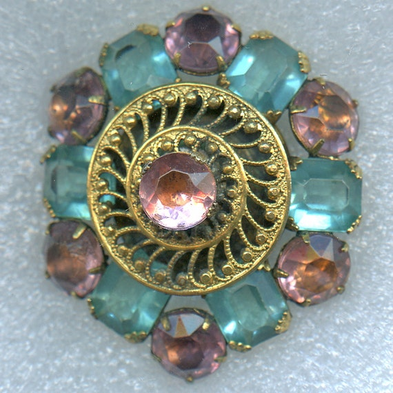 Button HUGE with PINK TURQUOISE Rhinestones Fancy Vintage Gold Tone 1 3/4 inch size 2378