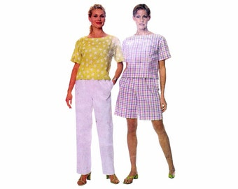 Misses Top Pull-On Pants and Shorts McCalls 9329 Sewing Pattern Full Figure Size 16 - 18 - 20 - 22 Bust 40 - 42 - 44 - 46 Uncut