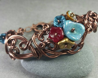 Maiden of Bramblewood Pond Sculpted Wire Cuff Bracelet