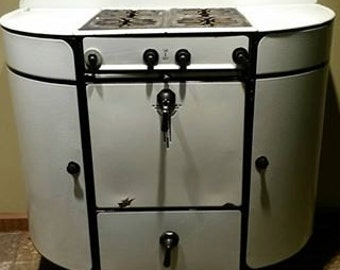 Antique White Black Moores Gas Stove Vintage awesome!