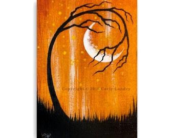 ACEO Original Mini Acrylic Tree & Moon Painting Bold Orange Black Landscape Silhouette Art ATC Artist Trading Card Collector Artwork Gothic