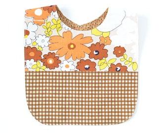 Vintage Fabric Patchwork Bib   Brown/Orange Floral + Gingham