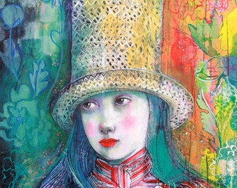 Walking Through Wonderland- Original mixed media painting by Maria Pace-Wynters