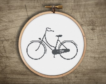 retro cross stitch pattern ++ modern classic bicycle ++ pdf INsTAnT DOwNLoAD ++ diy hipster ++ handmade design