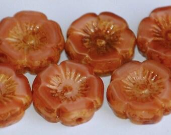 12mm HAWAIIAN SALMON PINK Shine Picasso Czech Flower Beads (8 Beads) LEA19