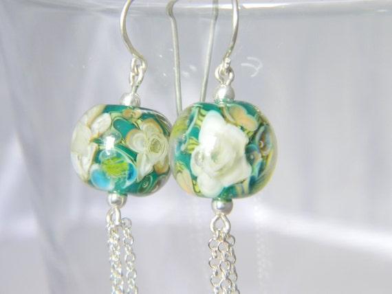 Rainforest Triple Fringe Earrings - Lampwork Glass and Sterling Silver